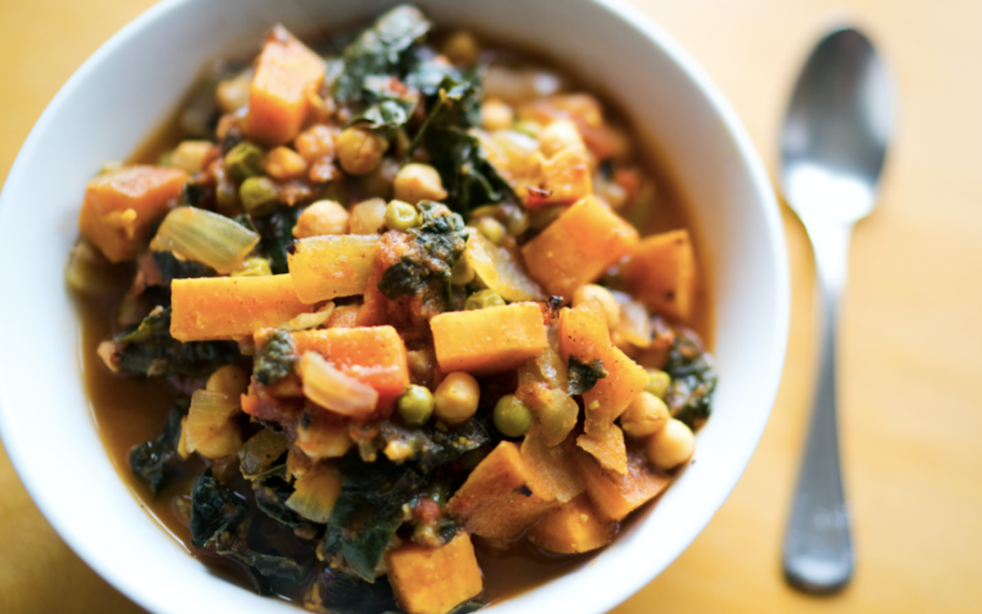 Chickpea Sweet Potato Curry with Kale